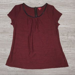 MERONA Maroon Top Faux Leather Trim Large
